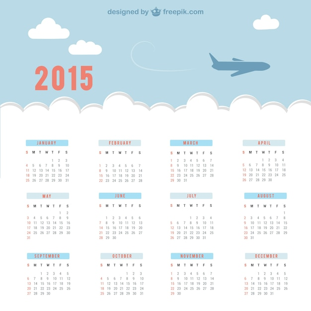 2015 calendar with sky and plane Free Vector