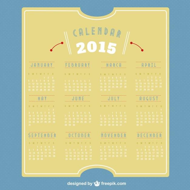 2015 retro calendar Free Vector