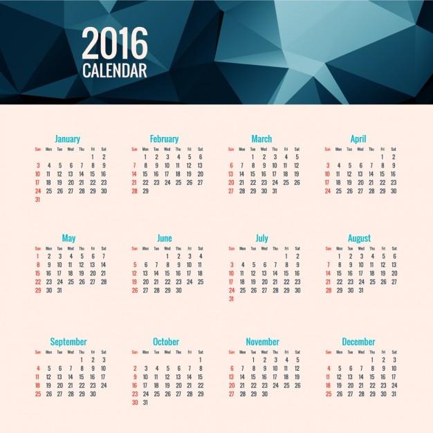 2016 blue polygonal calendar