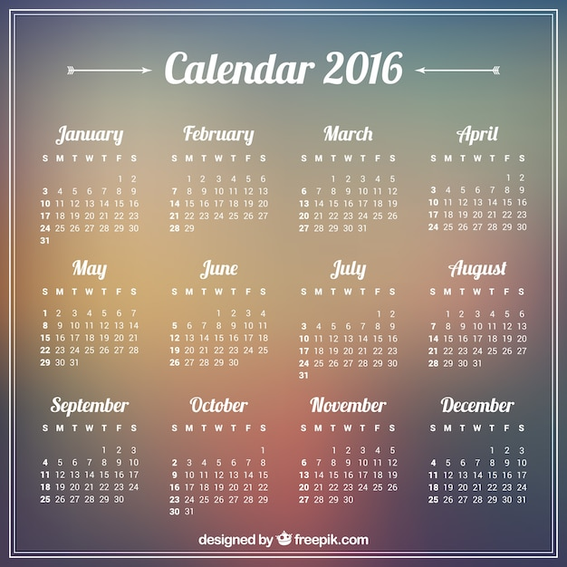 2016 calendar on blurry background Premium Vector