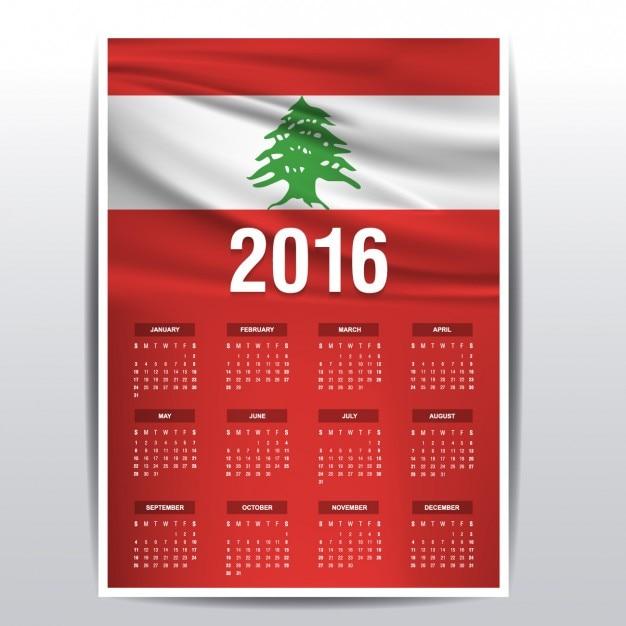 2016 calendar of lebanon Free Vector