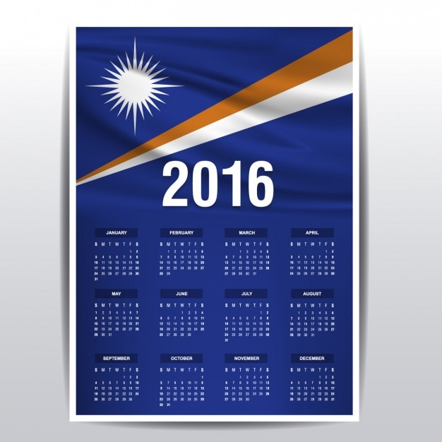 2016 calendar of the marshall islands Free Vector