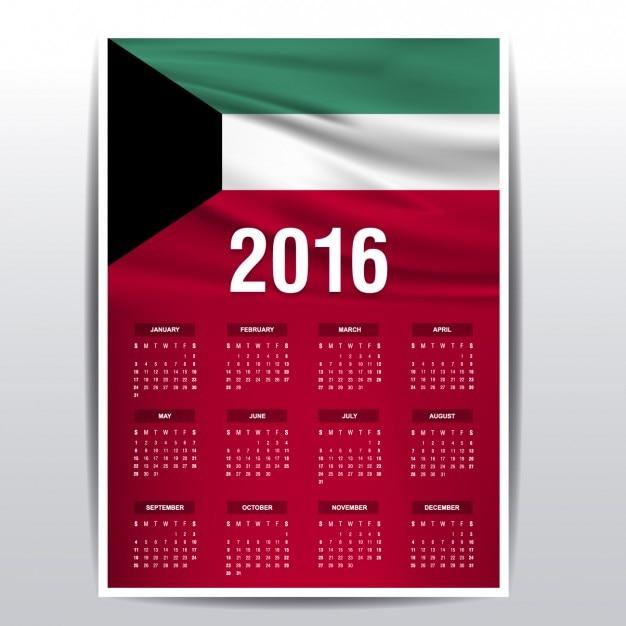 Year Calendar Kuwait : Calendar of kuwait vector free download