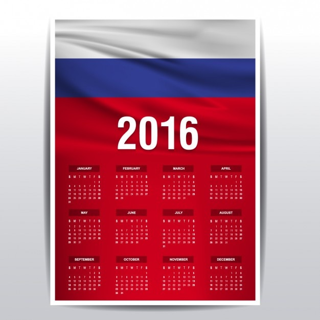 Calendar Russia : Calendar of russia flag vector free download