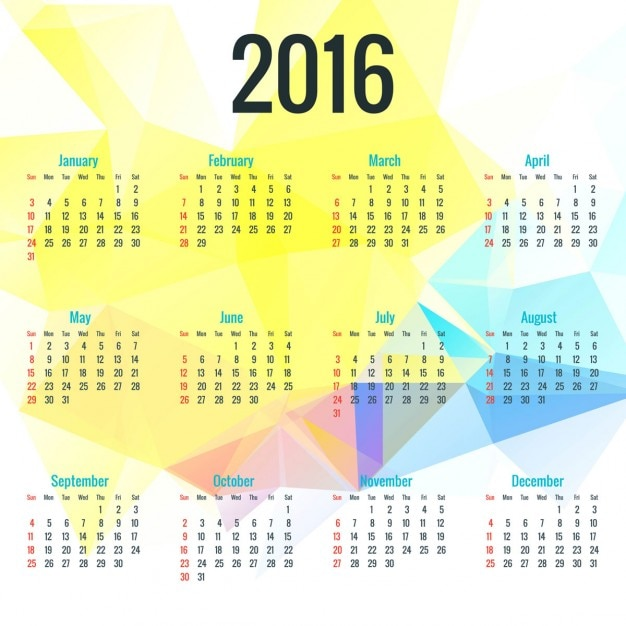 Calendar Background 2016 : Calendar on polygonal background vector free download