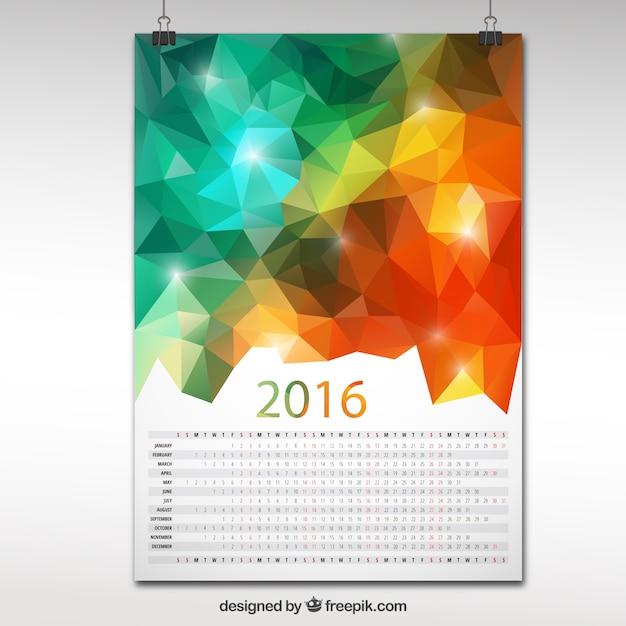 2016 calendar in polygonal design Premium Vector