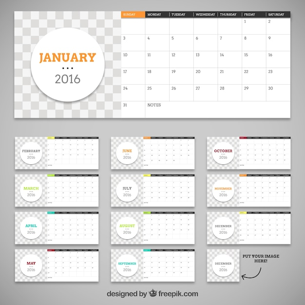 Calendar Template With Circles Vector  Free Download