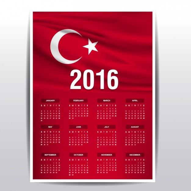 2016 calendar of turkey flag Free Vector