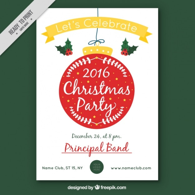 2016 christmas party brochure with decorative ball