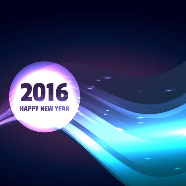 2016 happy new year design in wave style