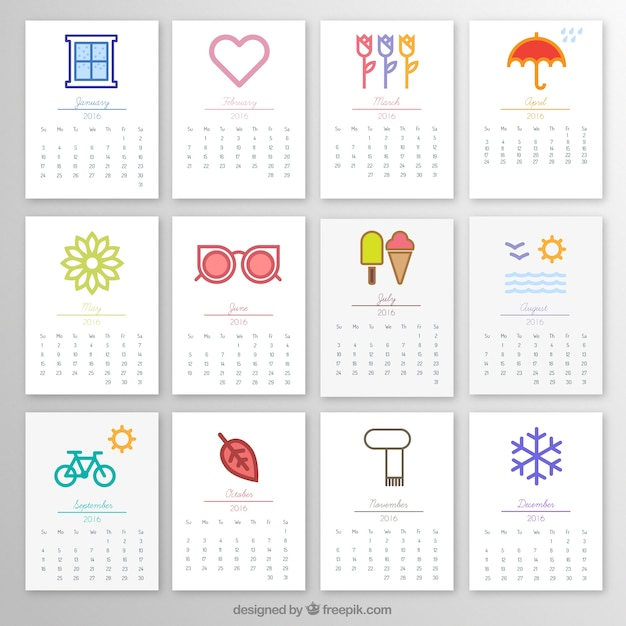 2016 monthly calendar with icons vector free download Online vector editor