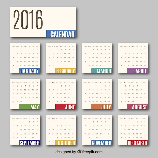 カレンダー カレンダー a4 2015 : 2016 Monthly Calendar Vector
