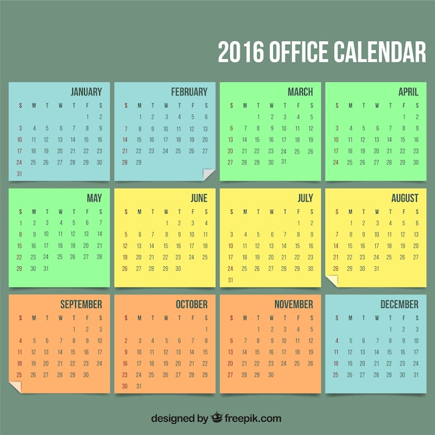 Office Calendar 2016 : Office calendar vector free download