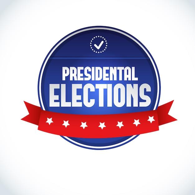 白いフラットに赤いリボンで2016年米国大統領選挙のラベル 無料ベクター