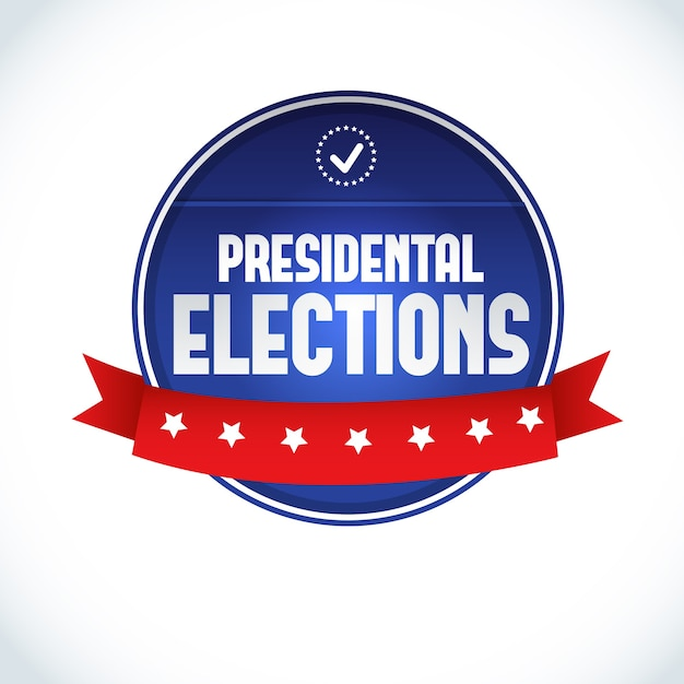 2016 usa presidential election lable with red ribbon on white  flat Free Vector