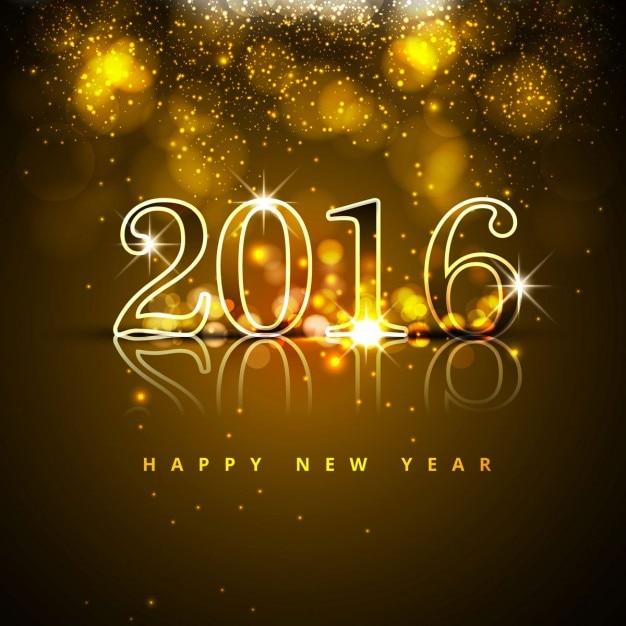 新しい年2016年には背景を輝きます 無料ベクター