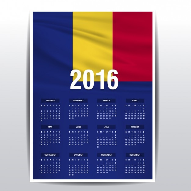 2016年のルーマニアカレンダー 無料ベクター