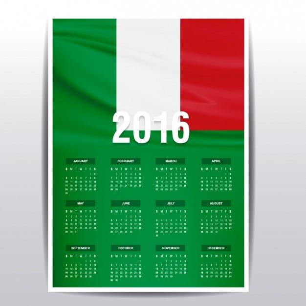 2016年のイタリアのカレンダー 無料ベクター