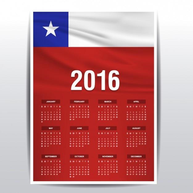 2016年のチリカレンダー 無料ベクター