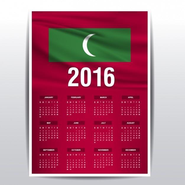 2016 календарь мальдивы флаг Бесплатные векторы