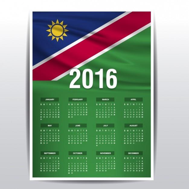 2016年のナミビアカレンダー 無料ベクター