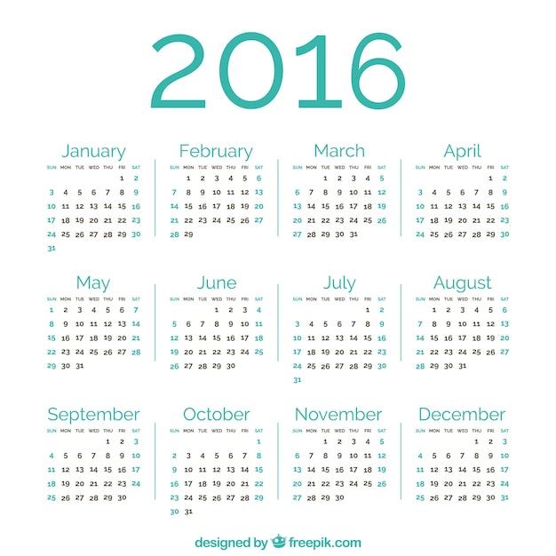 Зеленый 2016 календарь Бесплатные векторы