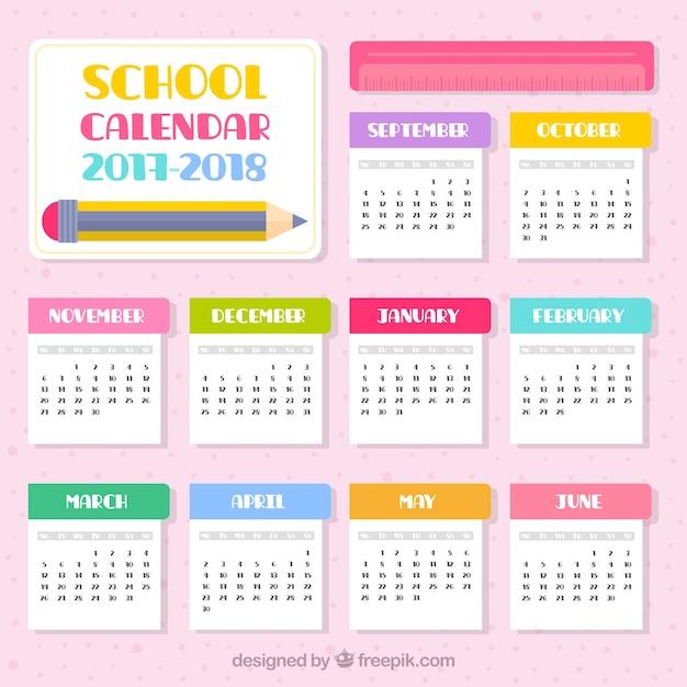 2017-2018 school calendar in flat design