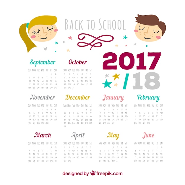 2017-2018 school calendar with nice children