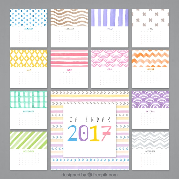 2017 abstract watercolor calendar Premium Vector