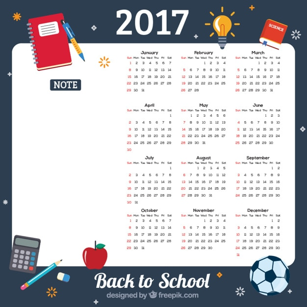 2017 back to school calendar