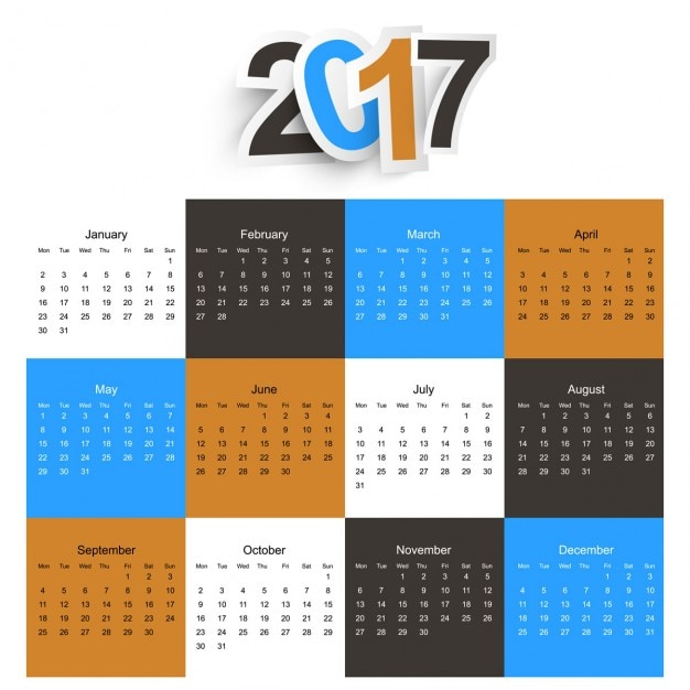 2017 calendar background Free Vector