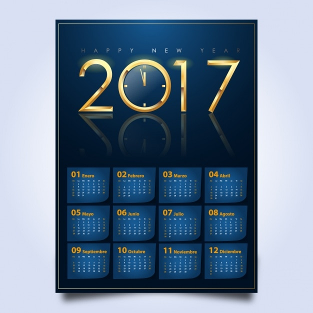2017 Calendar Design Vector Free Download