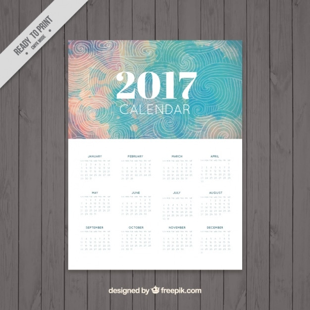 2017 calendar in abstract design with spirals drawings Free Vector