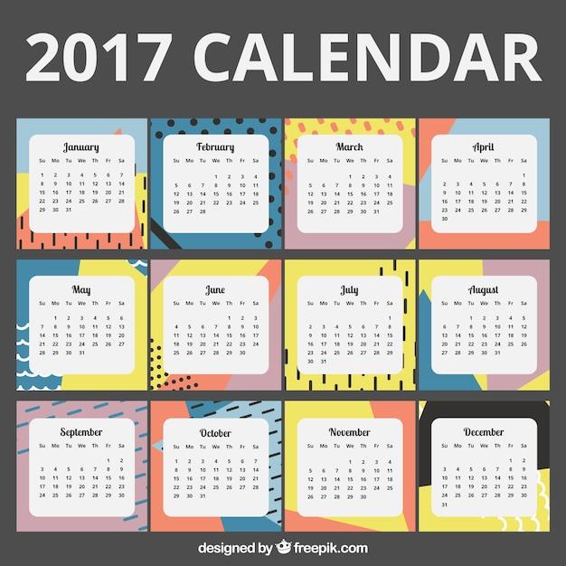 2017 calendar in abstract design Free Vector
