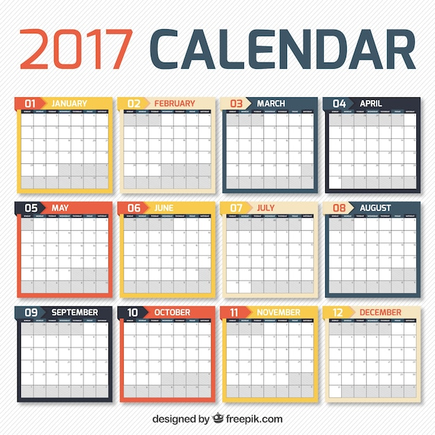Calendar Design Vector Free Download : Calendar in simple design vector free download