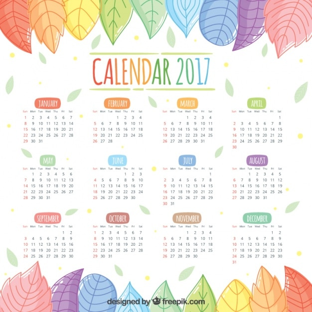 2017 calendar of beautiful hand-drawn colored leaves Free Vector