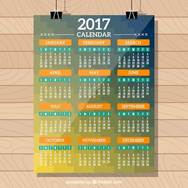 2017 calendar template in modern style Free Vector