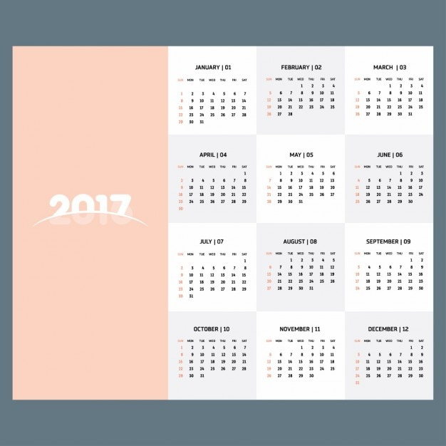 2017 Calendar Template Of Pastel Color Vector Free Download