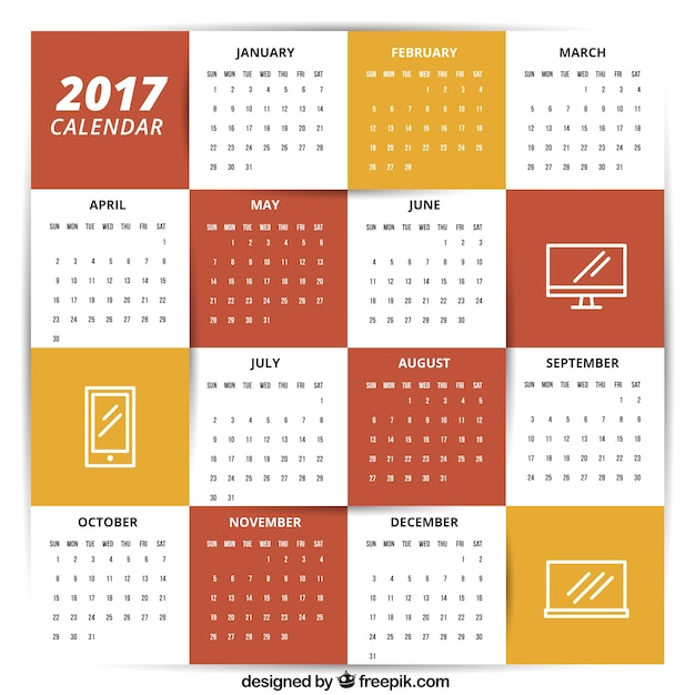2017 Calendar Template With Icons Vector | Free Download