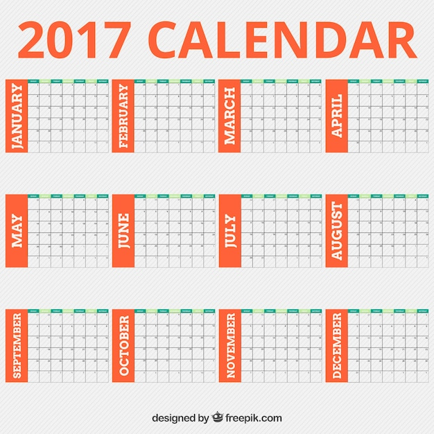 2017 calendar template with orange details vector free download