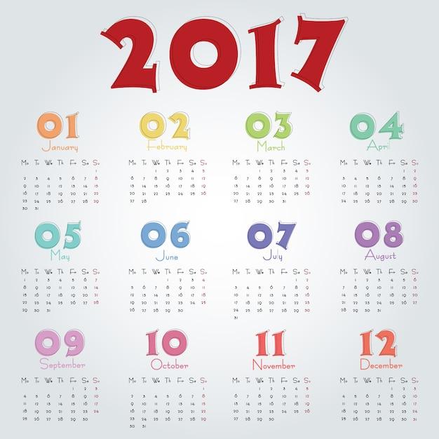 2017 calendar template Free Vector