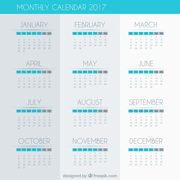 2017 calendar with blue details Free Vector