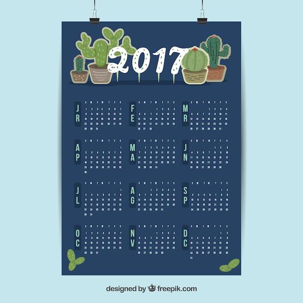 2017 calendar with cactus Free Vector