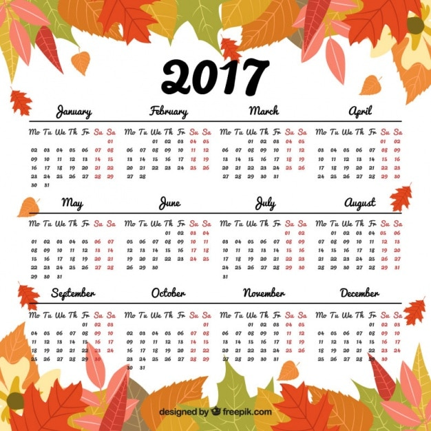 2017 Calendar With Decorative Leaves Vector Free Download