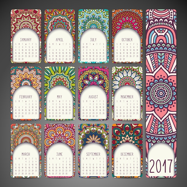 2017 Calendar With Decorative Mandalas Vector Free Download