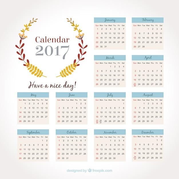 2017 calendar with floral wreath