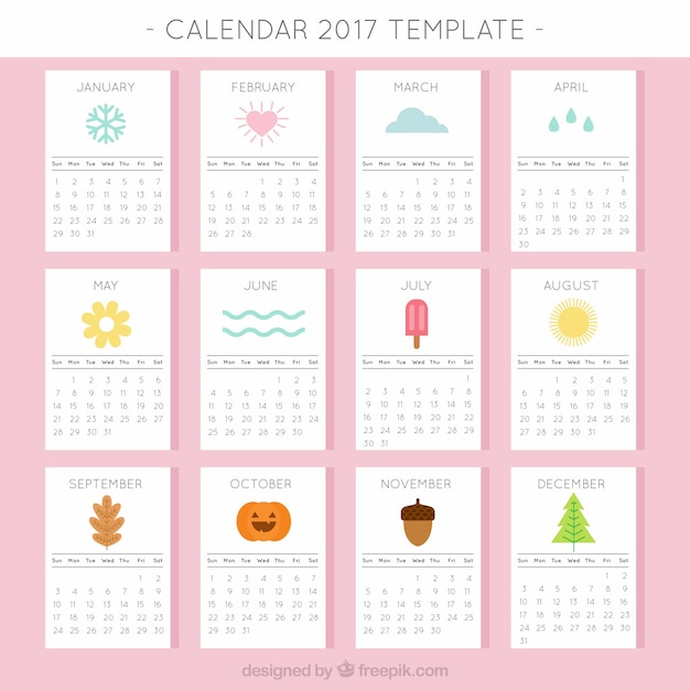 2017 calendar with seasonal elements vector free download