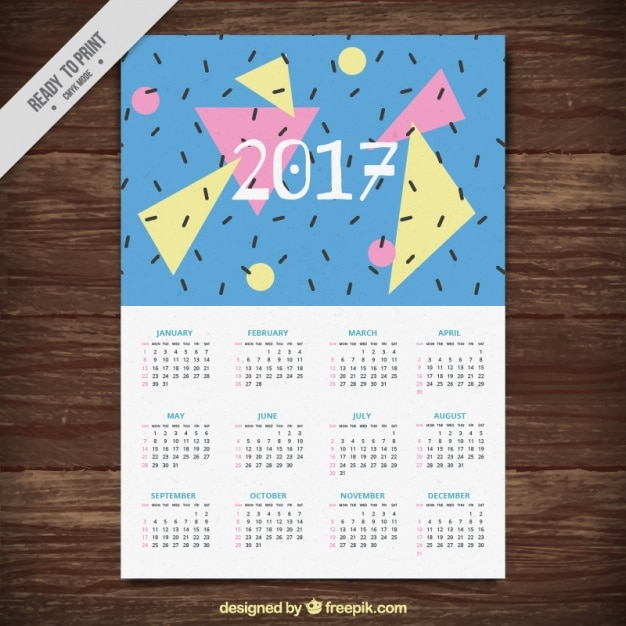 2017 eighties style calendar Free Vector