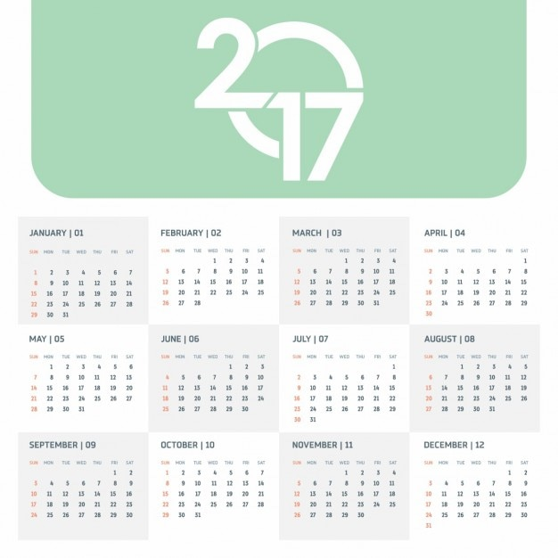 2017 Green Calendar Template Vector | Free Download