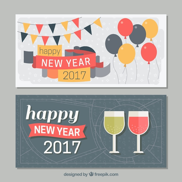 2017 happy new year banners with balloons and\ cups